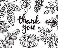 Dziękuje ciebie karcianego z kwiatami, liśćmi i gałąź ręki rysującymi, royalty ilustracja