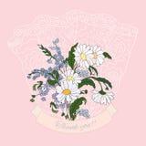 Dziękuje ciebie karcianego z różowymi stokrotkami Fotografia Stock