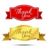 Dziękuje ciebie na sztandaru znaka wiadomości symbolu wektorze odizolowywającym na bielu Zdjęcie Stock