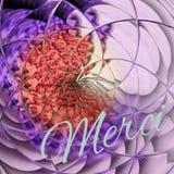 Dziękuje ciebie pisze list francuskiego merci na kwiecistym ultrafioletowym tle w róży tonie Fotografia Royalty Free