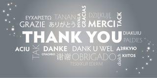 Dziękuje Ciebie różnojęzycznego, srebro Ilustracja Wektor