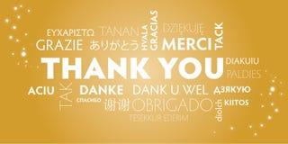Dziękuje ciebie różnojęzycznego, złoto Ilustracji