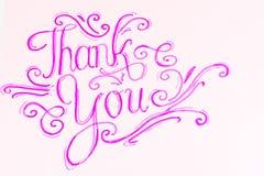 Dziękuje Ciebie Ręcznie pisany kaligrafia Obraz Stock