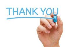Dziękuje Ciebie Ręcznie pisany Z Błękitnym markierem fotografia stock