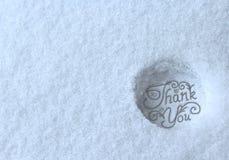 Dziękuje ciebie stemplował w śniegu Zdjęcie Royalty Free