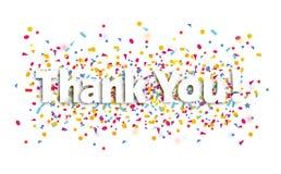 Dziękuje ciebie szyldowego, tekst i confetti, - dziękuje ciebie royalty ilustracja