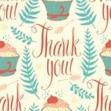 Dziękuje ciebie tło z babeczką, kaligrafia i royalty ilustracja