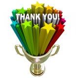 Dziękuje Ciebie trofeum rozpoznania docenienie Akcydensowi wysiłki Obraz Stock