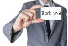 Dziękuje ciebie trzymał w ręce Fotografia Stock