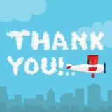 Dziękuje ciebie w nieba pojęciu Wektorowa ilustracja odizolowywająca na niebieskiego nieba i miasta krajobrazowym tle obłoczny ab Obrazy Royalty Free