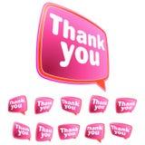 Dziękuje ciebie wiadomość majchery ustawiający. + EPS8 Zdjęcia Stock