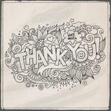 Dziękuje Ciebie wręczać literowanie i doodles elementy Zdjęcia Stock