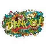 Dziękuje Ciebie wręczać literowanie i doodles elementy Zdjęcie Stock