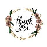 Dziękuje Ciebie wręczać literowanie kartę Nowożytna kaligrafia ilustracji