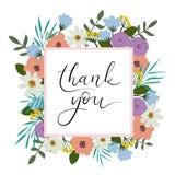 Dziękuje Ciebie wręczać literowanie kartę Nowożytna kaligrafia rama kwiecista wrobić serii Zdjęcia Stock