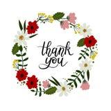 Dziękuje Ciebie wręczać literowanie kartę Nowożytna kaligrafia rama kwiecista wrobić serii ilustracji