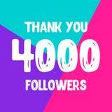Dziękuje ciebie 4000 zwolenników sieci ogólnospołeczna poczta royalty ilustracja
