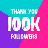 Dziękuje ciebie 100 000 zwolenników sieci ogólnospołeczna poczta ilustracji