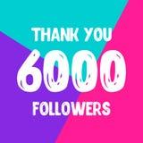 Dziękuje ciebie 6000 zwolenników sieci ogólnospołeczna poczta ilustracja wektor