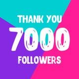 Dziękuje ciebie 7000 zwolenników sieci ogólnospołeczna poczta ilustracja wektor