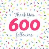 Dziękuje ciebie 600 zwolenników sieci poczta ilustracji