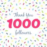 Dziękuje ciebie 1000 zwolenników sieci poczta ilustracji