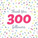 Dziękuje ciebie 300 zwolenników sieci poczta royalty ilustracja