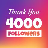Dziękuje ciebie 4000 zwolenników sieci sztandar ilustracji