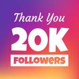 Dziękuje ciebie 20000 zwolenników sieci sztandar royalty ilustracja
