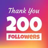 Dziękuje ciebie 200 zwolenników sieci sztandar royalty ilustracja