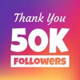 Dziękuje ciebie 50000 zwolenników sieci sztandar ilustracji