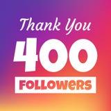 Dziękuje ciebie 400 zwolenników sieci sztandar ilustracja wektor