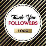 Dziękuje ciebie 1000 zwolenników Wektor karta dla ogólnospołecznych środków royalty ilustracja
