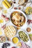 Dzi?kczynienie go?? restauracji z kurczakiem, jab?czany kulebiak, dyniowy zupny Brussel - flance i owoc obrazy stock