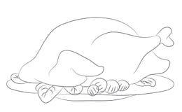 Dziękczynienie kreskowego rysunku indyczy wektor royalty ilustracja