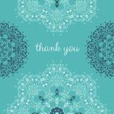 Dziękuje ciebie karcianego z abstrakcjonistyczny wektorowy ornamentacyjny round mandala Zdjęcia Royalty Free