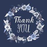 Dziękuje Ciebie kartka z pozdrowieniami z doodle kwiatami zdjęcia royalty free