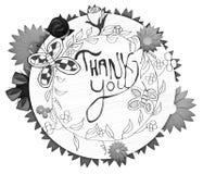 Dziękuje ciebie - Kwiecisty projekt Zdjęcie Stock
