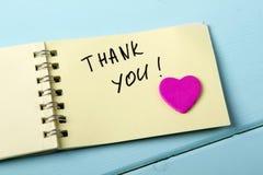 Dziękuje Ciebie, A spirali Notepad t Obraz Royalty Free