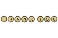 Dziękuje ciebie w maszyna do pisania kluczach Zdjęcia Royalty Free
