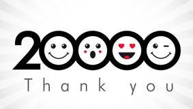 Dziękuje ciebie 20000 zwolenników liczb Fotografia Stock
