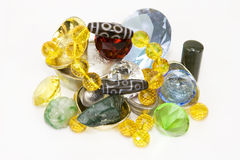 Dzi Wealth. Plethora of ancient jewels, gems and treasures stock image