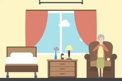Dziać w karmiącym domu seniory royalty ilustracja