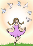 Działająca dziewczyna i gołębie Zdjęcia Royalty Free