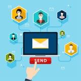 Działająca email kampania, email reklama, bezpośredni cyfrowy rynek ilustracji