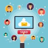 Działająca kampania, email reklama, bezpośredni cyfrowy marketing ilustracji