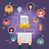 Działająca kampania, email reklama, bezpośredni cyfrowy marketing ilustracja wektor