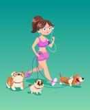 Działająca kobieta z psami Zdjęcia Stock
