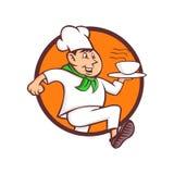 Działająca szef kuchni porci fasta food maskotka Zdjęcie Royalty Free