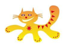 Działającej kot Śmiesznej kreskówki kota szczęśliwy pozytywny rysunek w czerwieni, kolorze żółtym i pomarańcze kolorach, ilustracja wektor